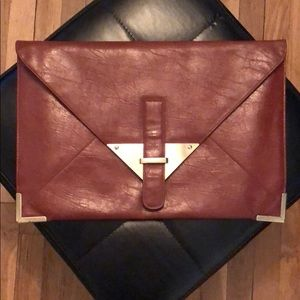 ASOS Prism Cognac leather envelope clutch